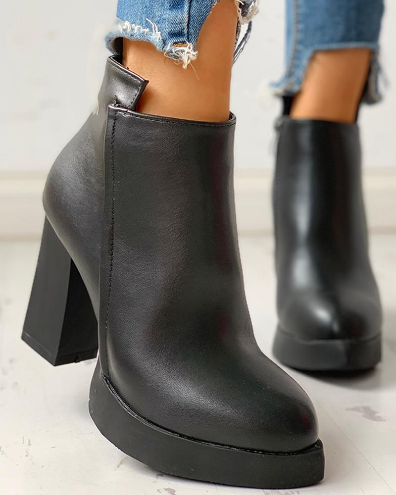 chicme / Leather Pointed Toe Chunky Heeled Ankle-Boots