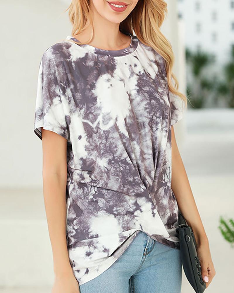 Tie Dye Print Twisted T-shirt фото