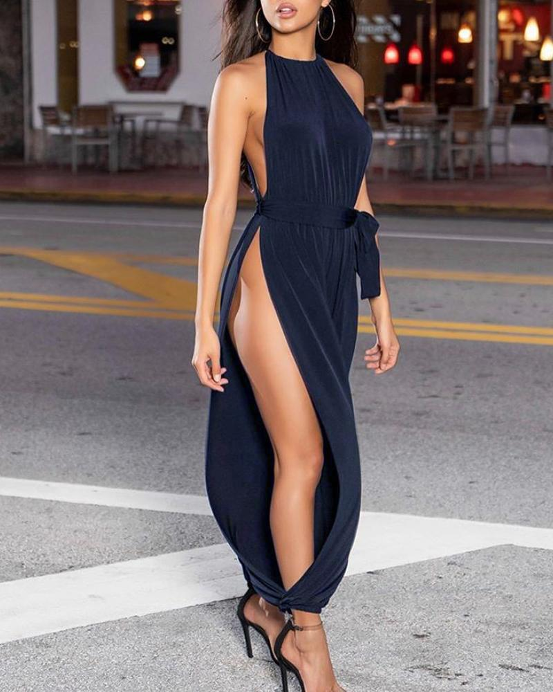 Solid Sleeveless Ruched Slit Jumpsuit фото