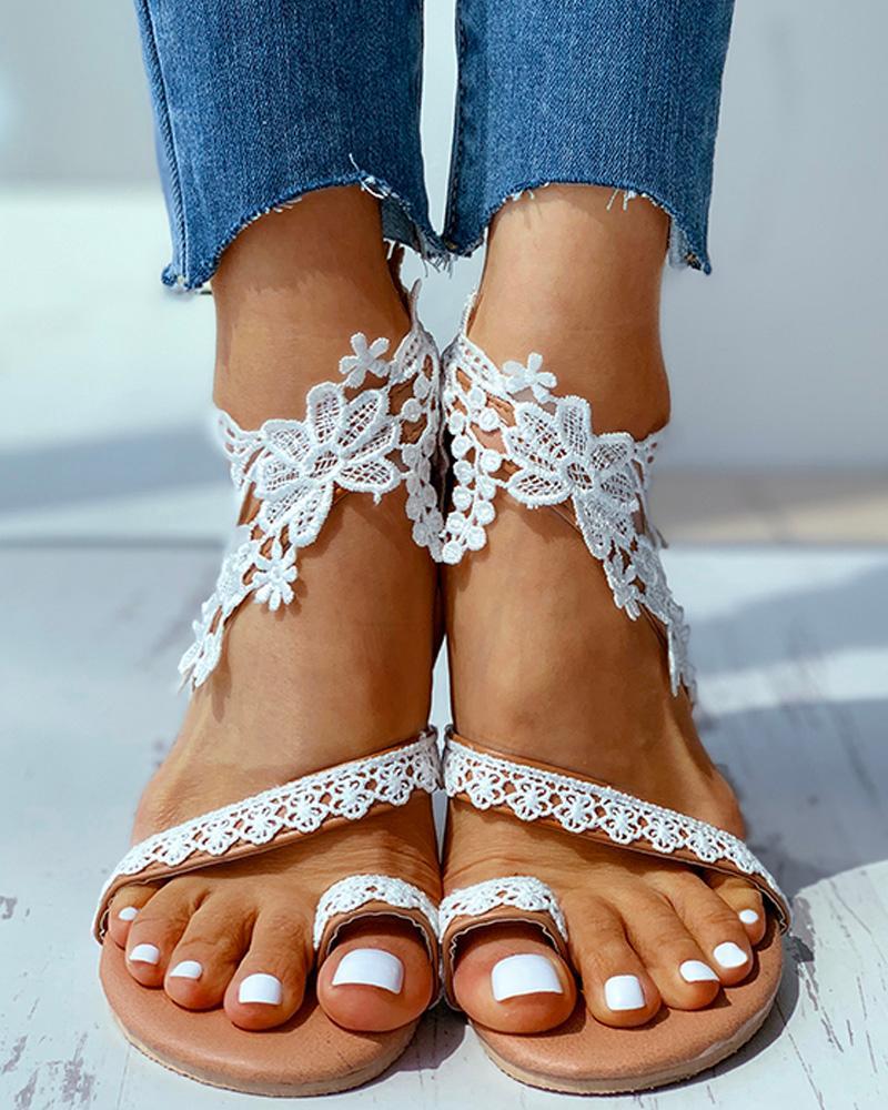 Flower Pattern Toe Ring Flat Sandals фото