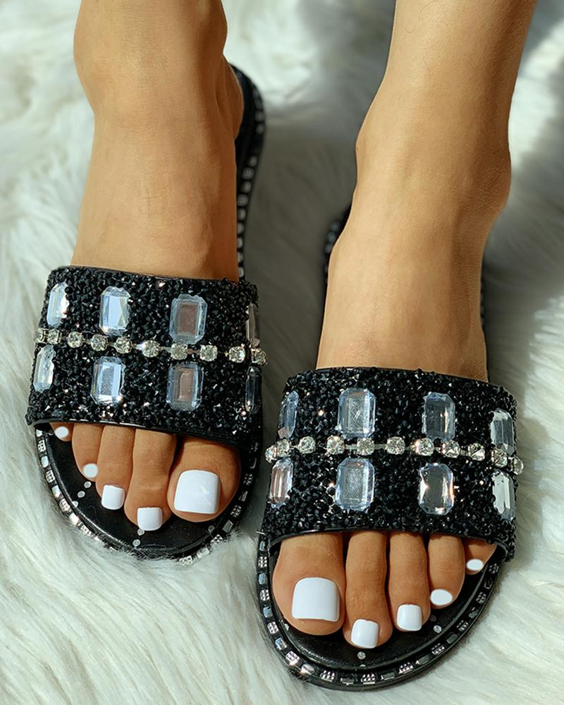 Studded Open Toed Flat Sandals фото
