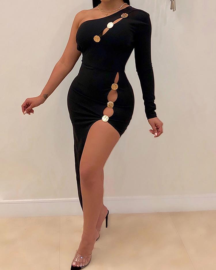 One Shoulder Cutout Buttoned Bodycon Dress, Black