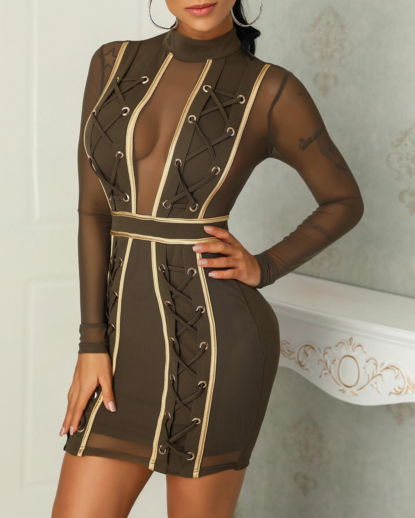 Mesh Splicing Lace-Up Eyelet Bodycon Dress фото