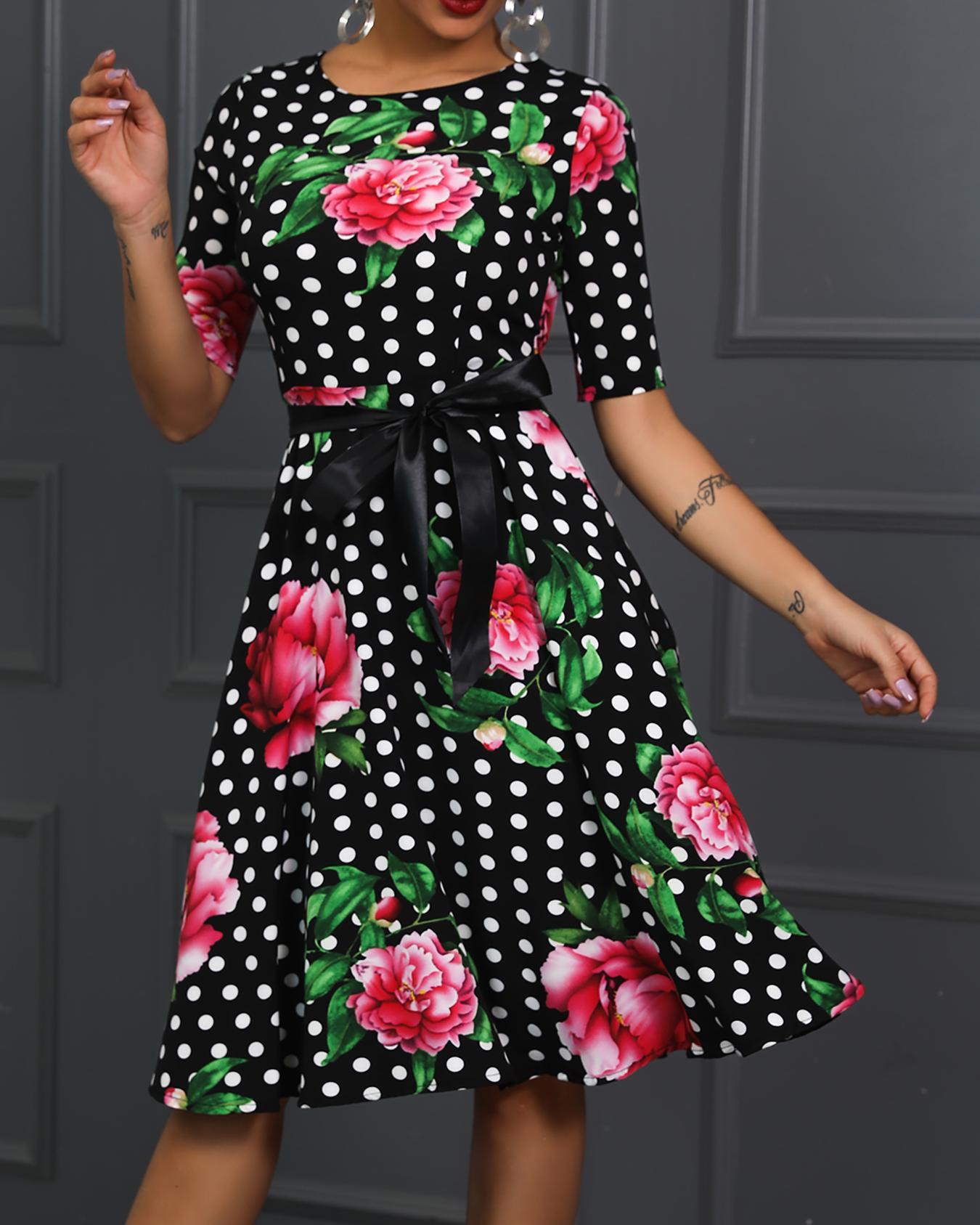Dot Floral Print Belted Midi Dress фото