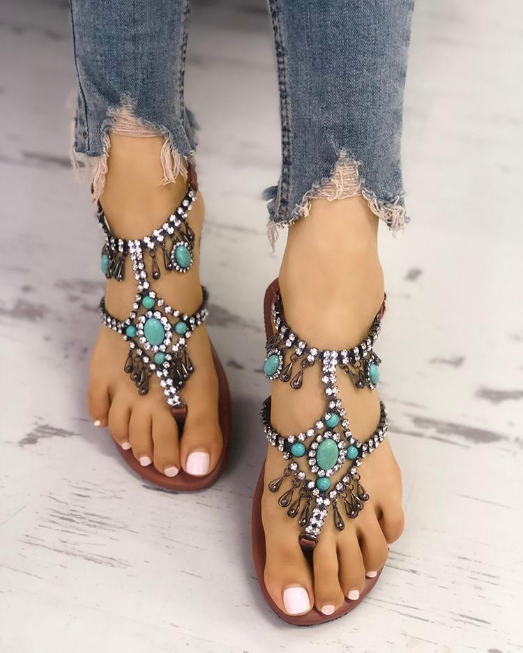 chicme / Boho Style Shiny Embellished Toe Post Flat Sandals