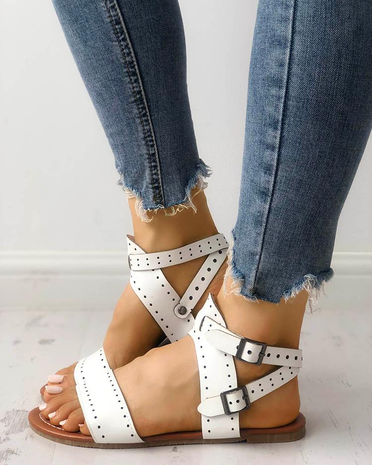 Eyelet Buckled Single Strap Flat Sandals фото