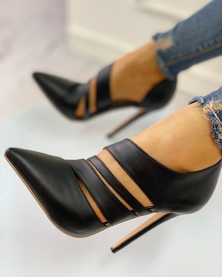 Pointed Toe Cut Out Thin Heels фото