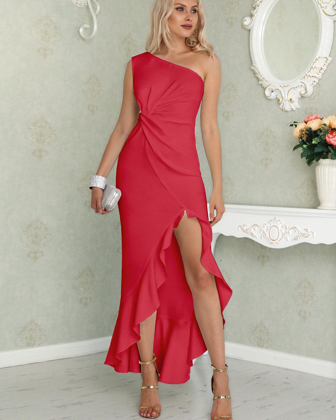 0f3fcdf69f4 Фото - One Shoulder Twisted Ruffles Slit Hem Dress от ivrose красного цвета