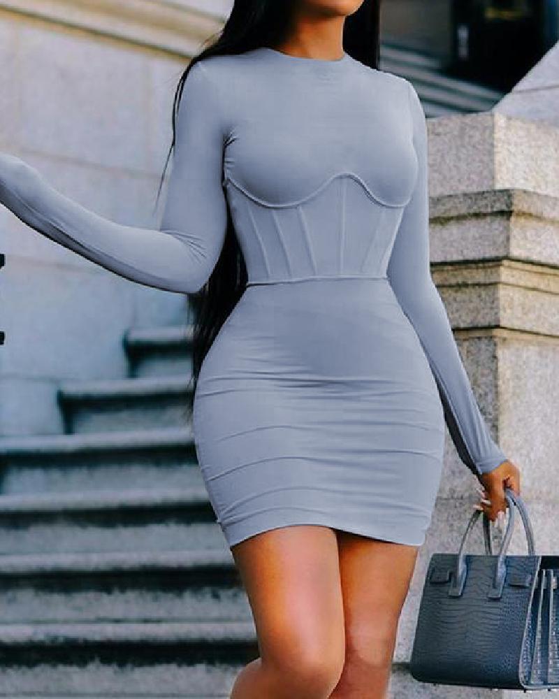 Solid Long Sleeve Bodycon Dress фото