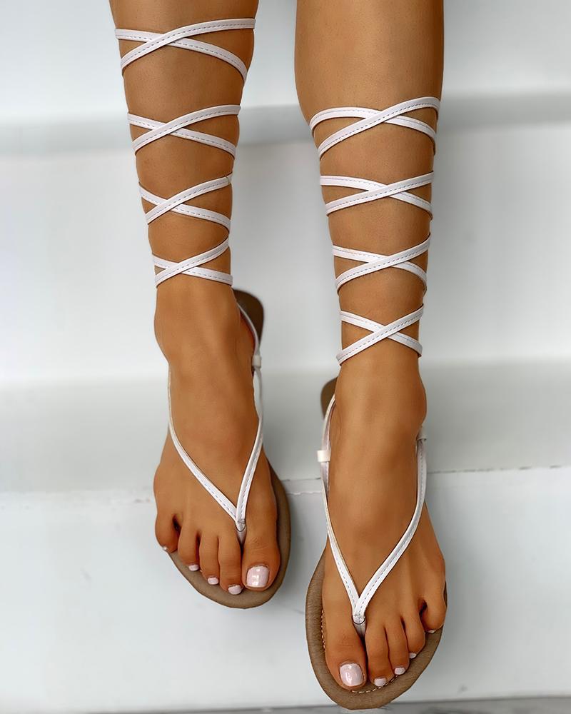 Bandage Lace-Up Toe Post Sandals фото
