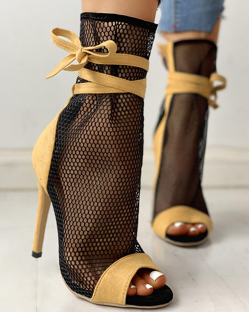 Fishing Net Zipper Bandage Thin Heeled Boots фото