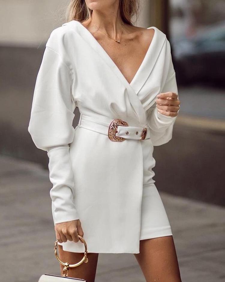 Gigot Sleeve Surplice Front Blazer Dress