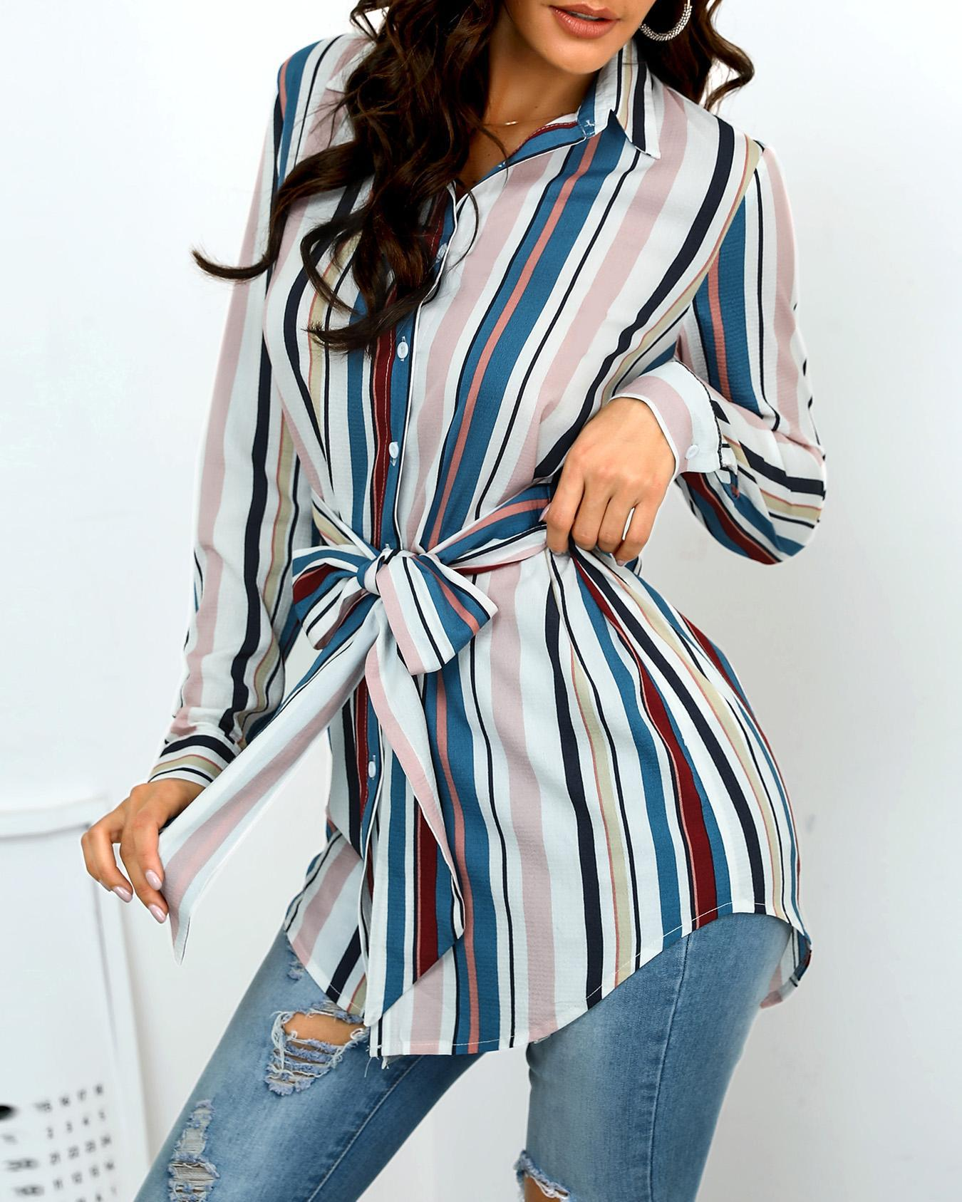 Vertical Stripes Knotted Front Curve Hem Shirt фото