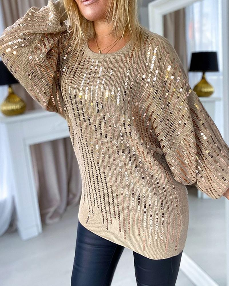 ivrose / Sequins Batwing Sleeve Casual Sweater