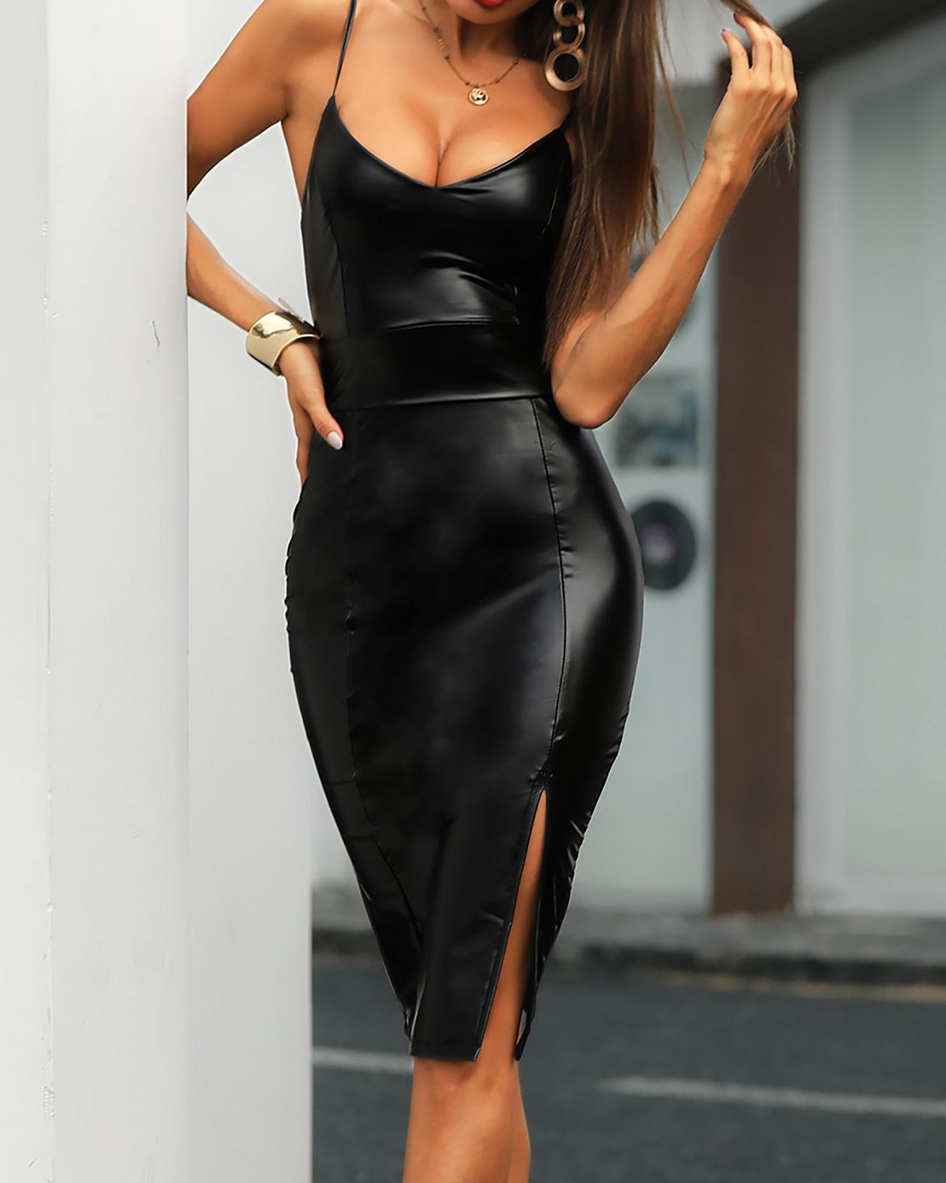 Sexy PU High Slit  Bodycon Slip Dress