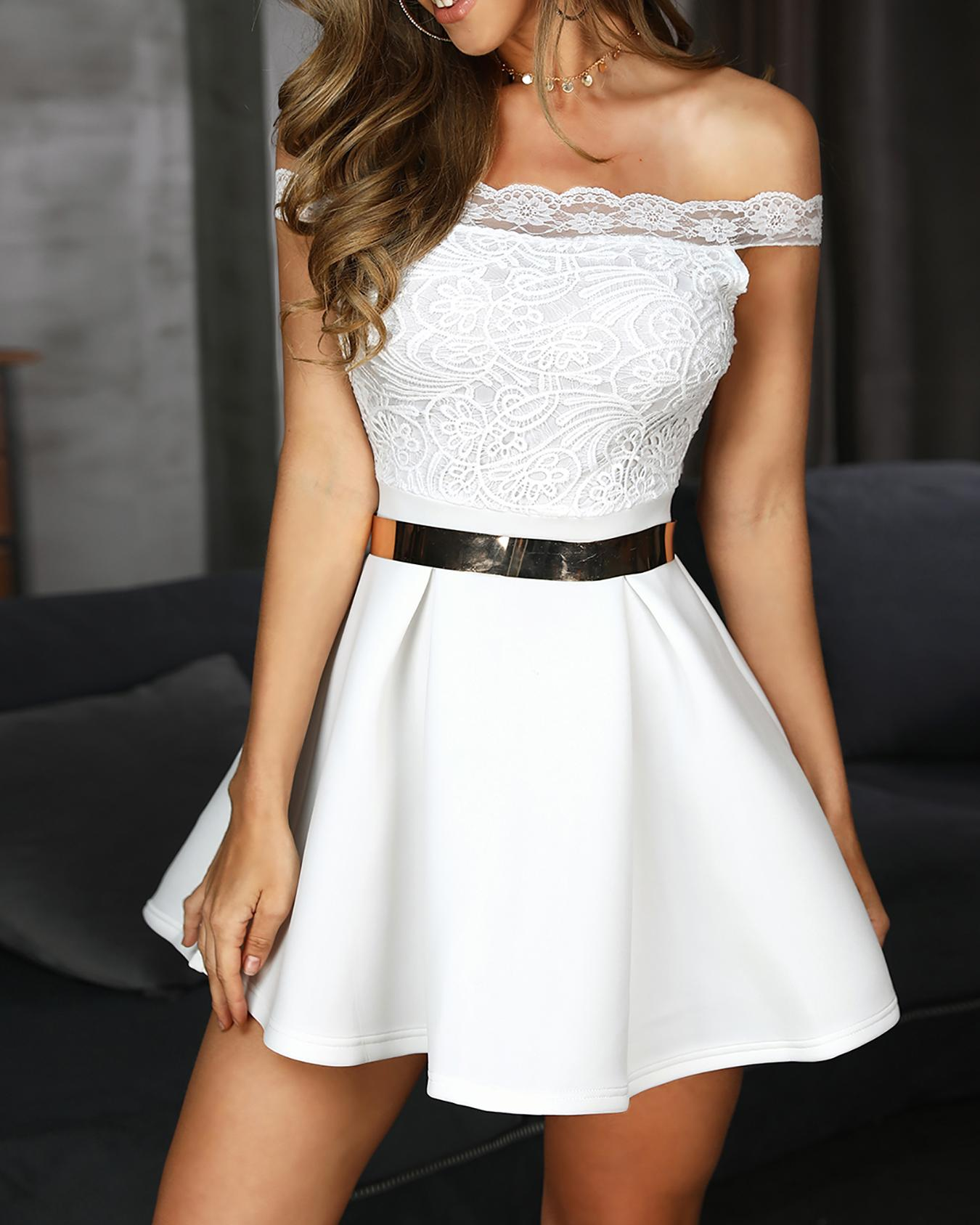 Off Shoulder Lace Splicing Pleated Dress, White