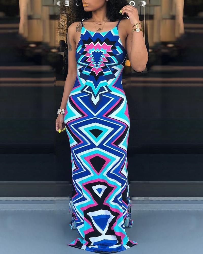 Geo Print Lace-Up Open Back Maxi Dress