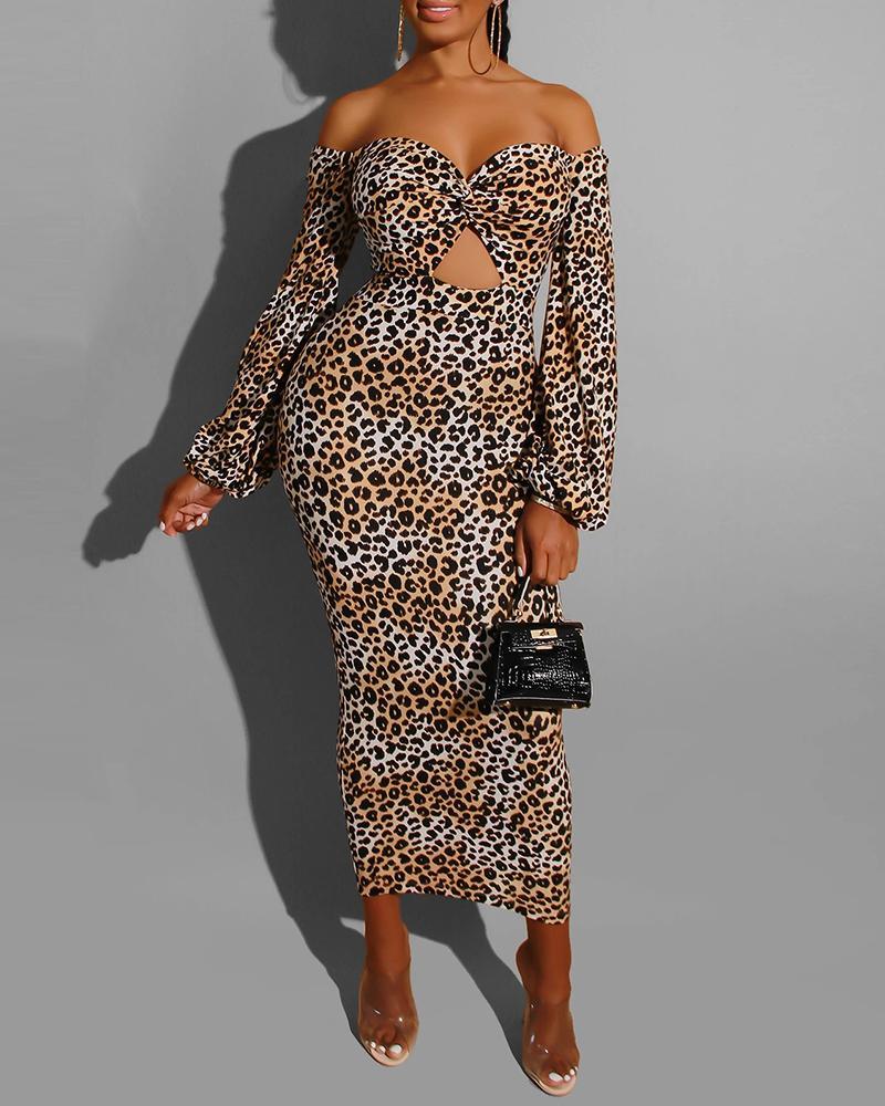 Off Shoulder Leopard Lantern Sleeve Cut Out Dress фото