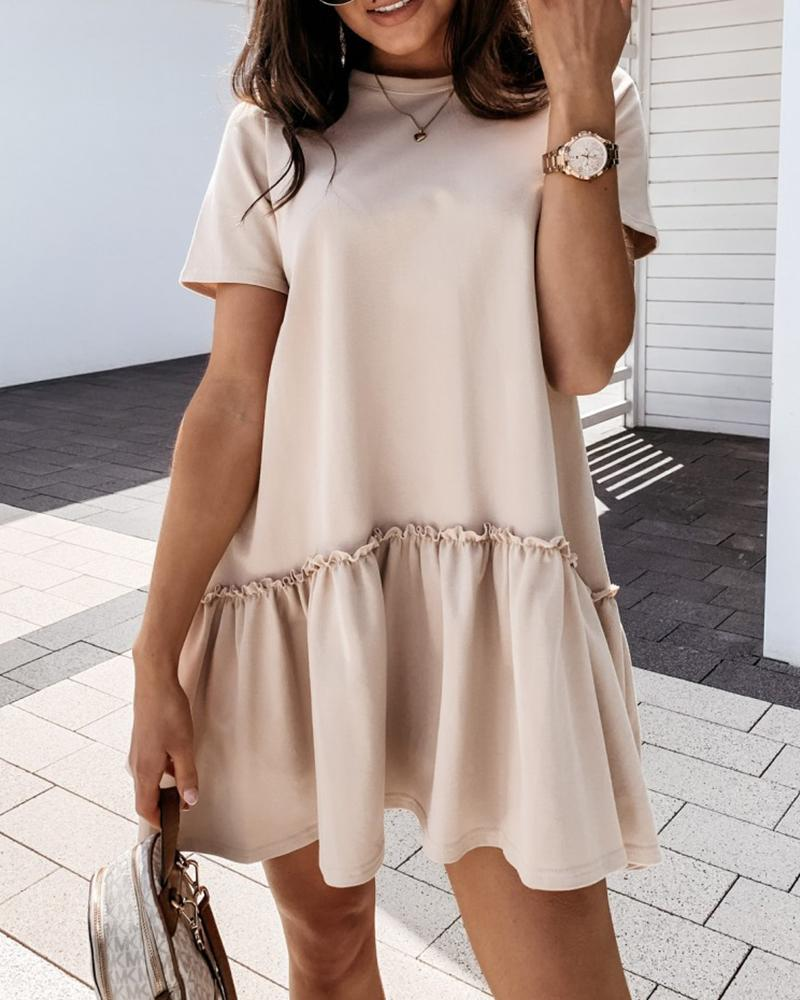 Ruffles Frill Hem Ruched Casual Dress фото