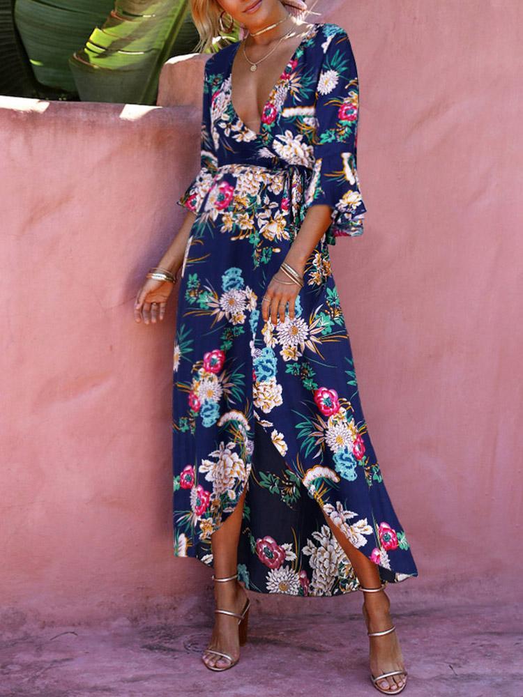 High Slit Floral Print Maxi Dress