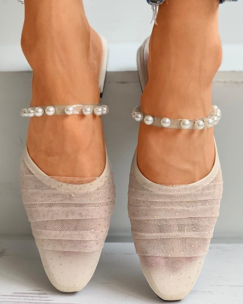Beaded Mesh Close Toe Block Heels фото