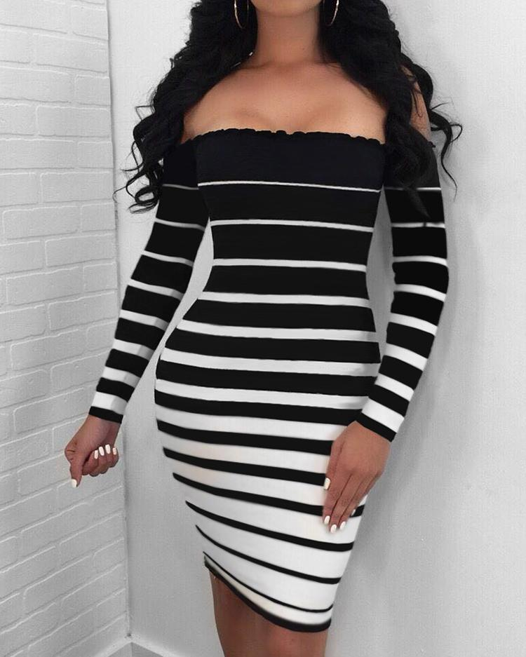 Stripes Off Shoulder Long Sleeve Bodycon Dress, Red;gray;white