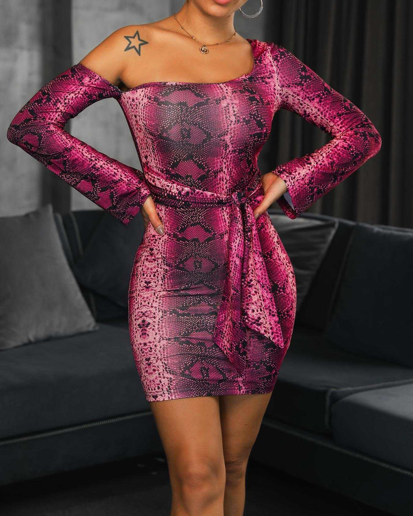 boutiquefeel / One Shoulder Snakeskin Bodycon Dress