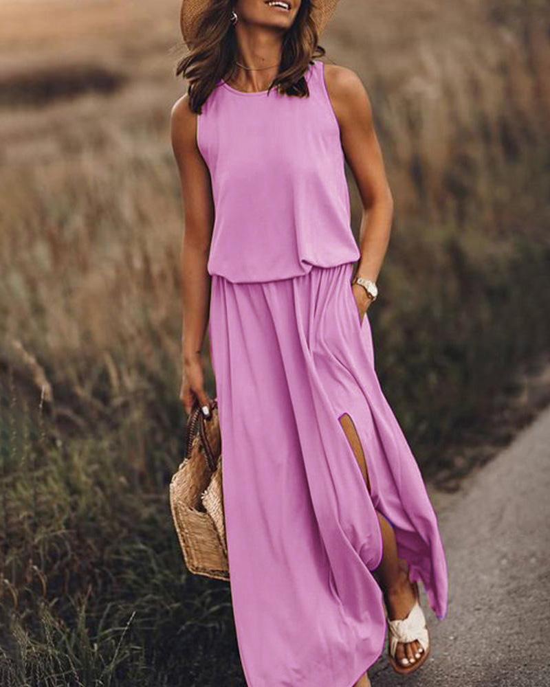 Round neck sleeveless split solid color Maxi dress фото