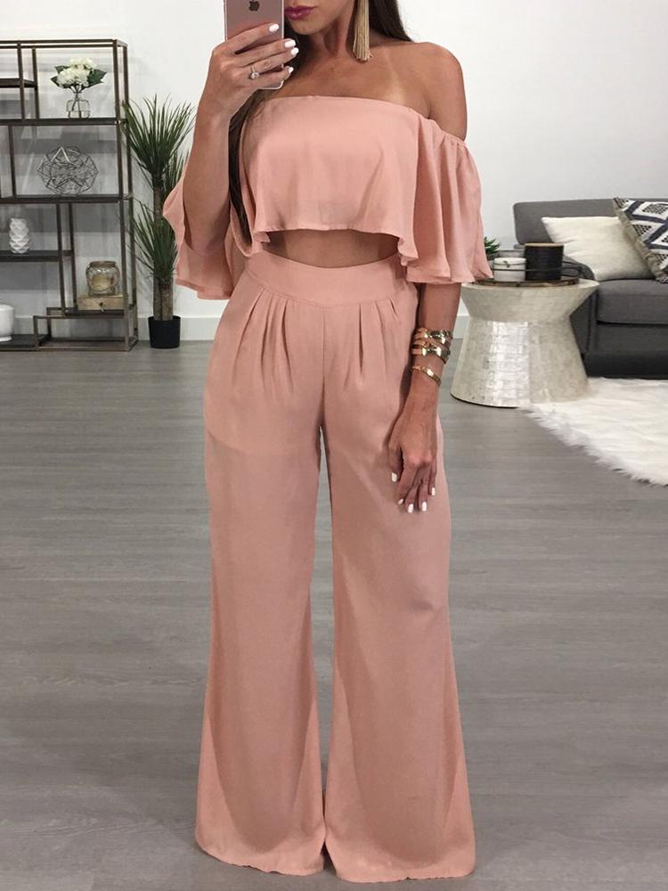 Ruffled Off Shoulder Cropped Wide Leg Pantsuit