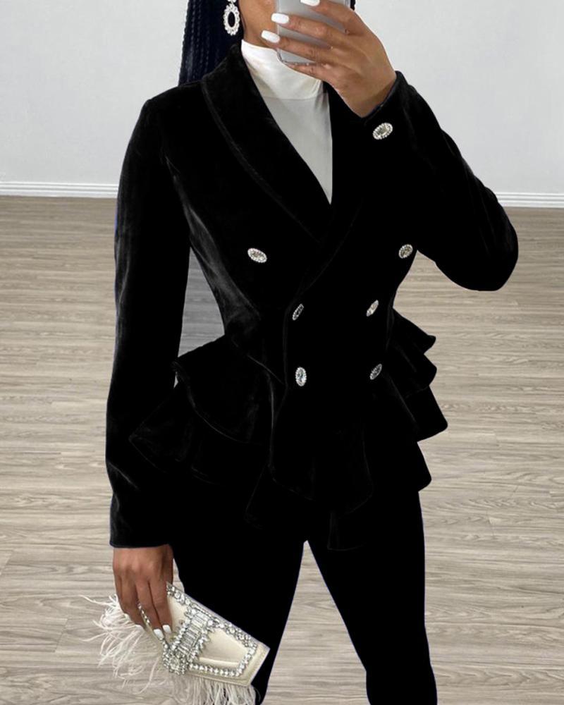 Double Breasted Velvet Ruffle Blazer & Skinny Pants фото