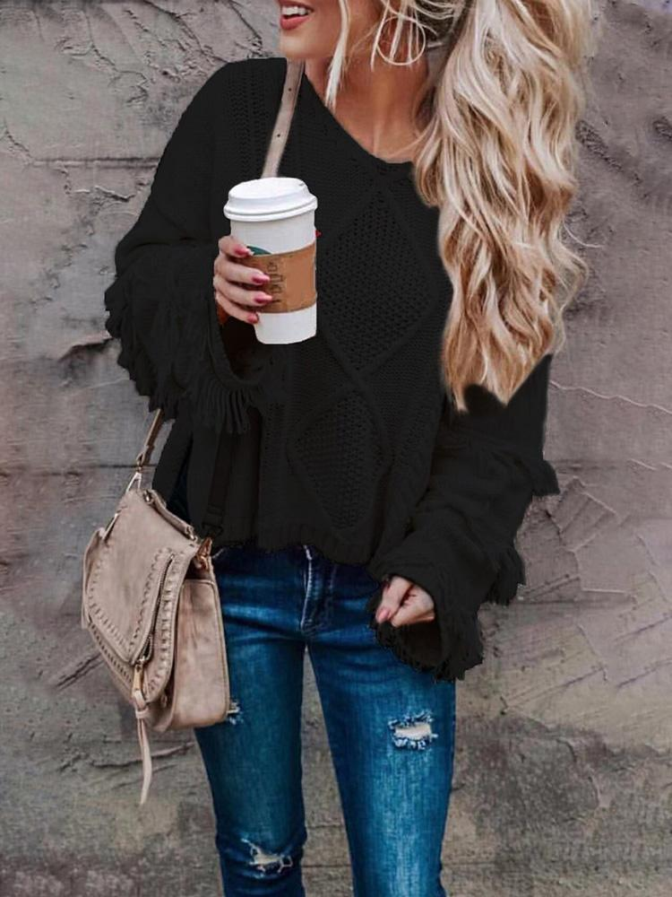 Solid Tassel Side Slit Pullover Sweater фото