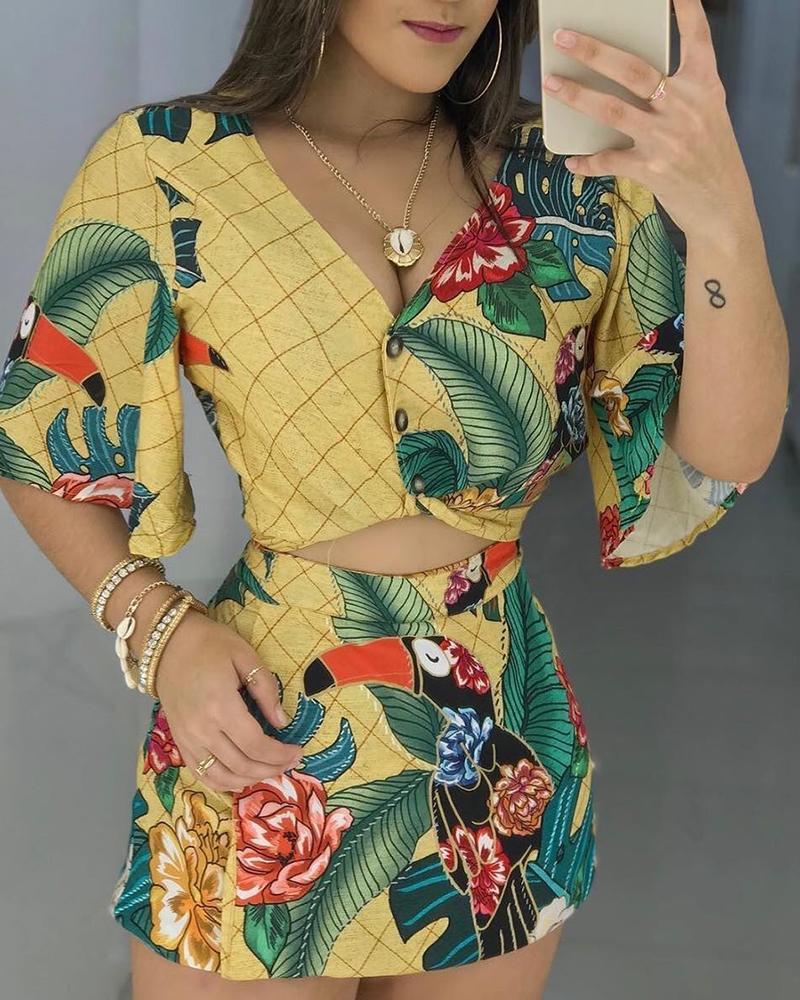 Floral Print Buttoned Top & Culotte Short Set