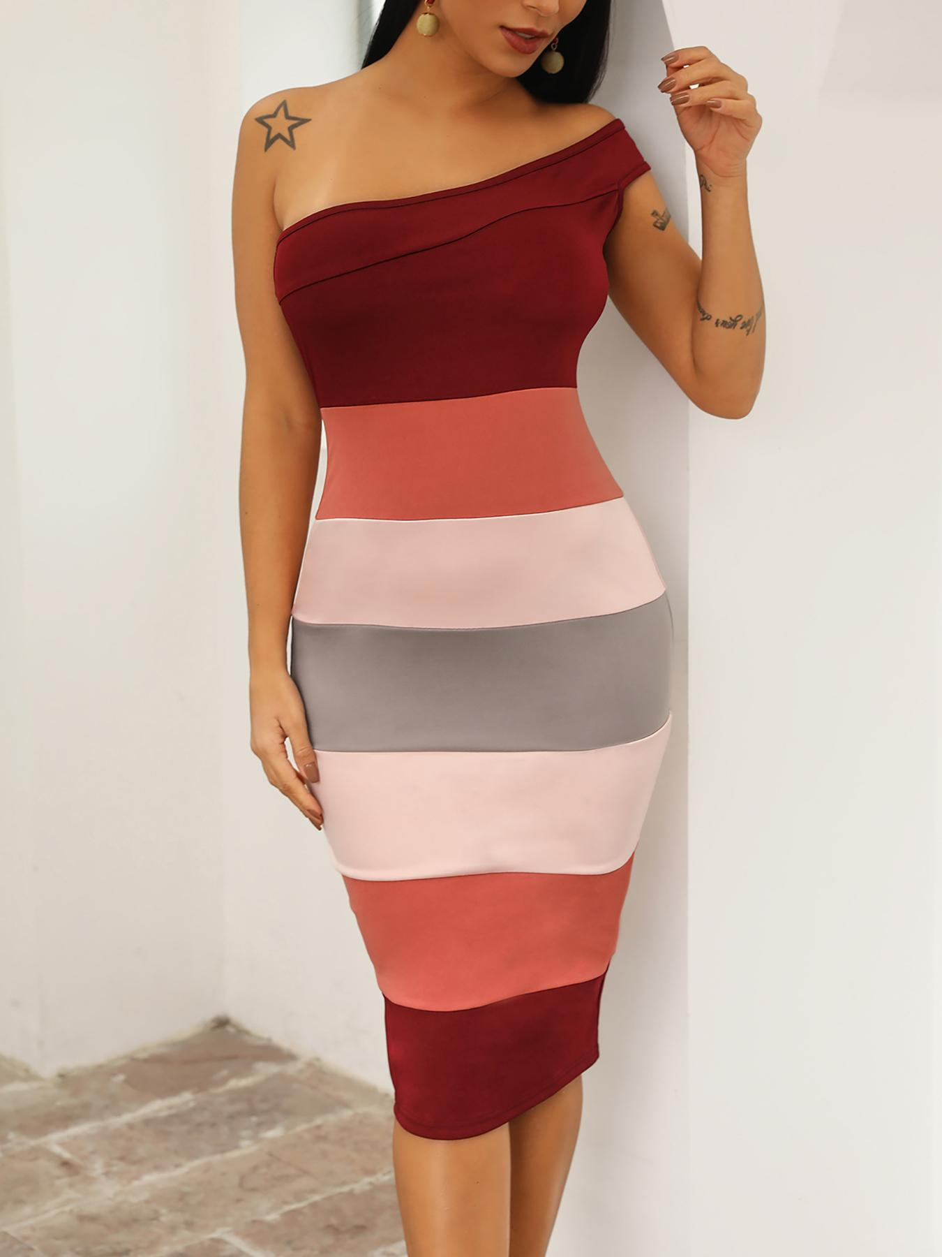 Striped Patchwork One Shoulder Bodycon Dress