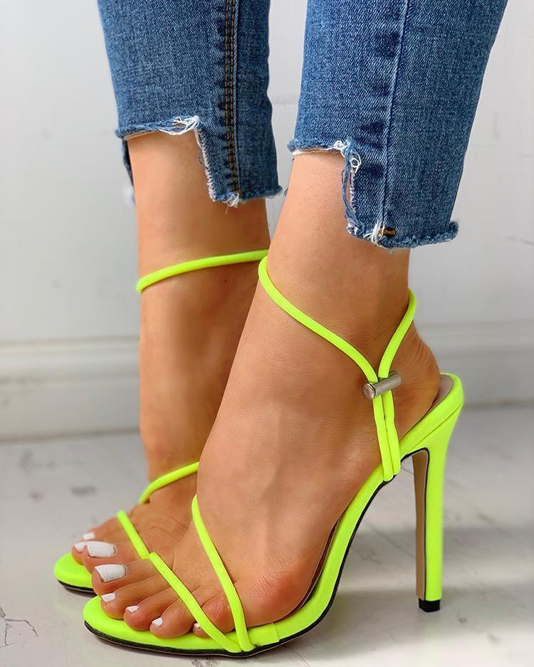 joyshoetique / Open Toe Slingback Thin Heeled Sandals