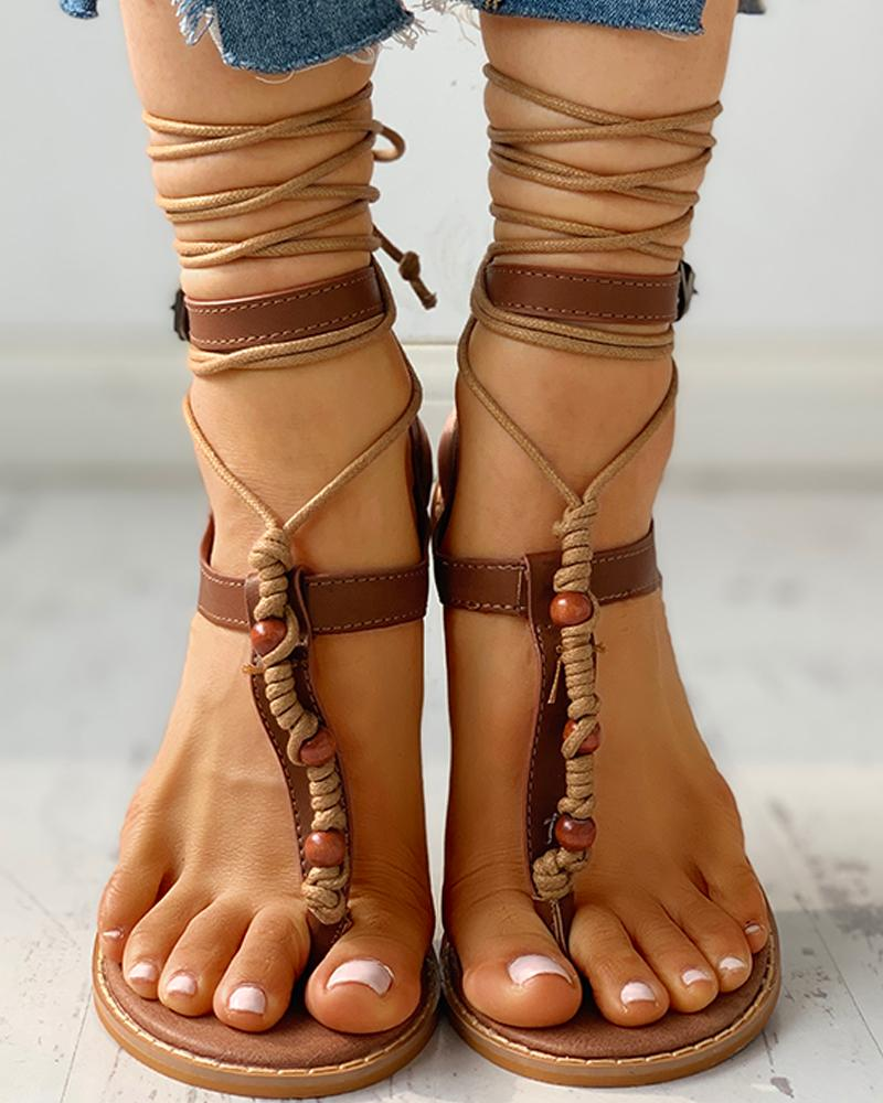 joyshoetique / Bandage Design Toe Post Flat Sandals