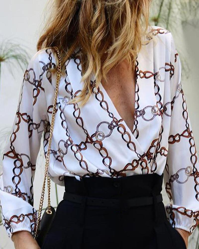 Chain Print V Neck Long Sleeve Blouse, White