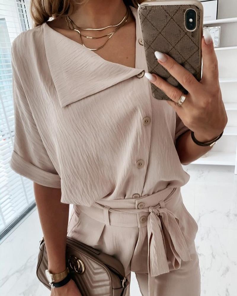 Short Sleeve Solid Top & Long Pant фото