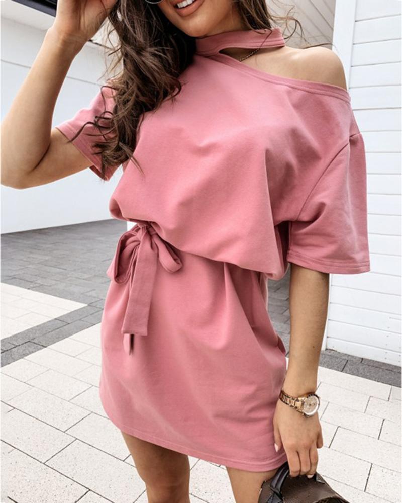 Cold Shoulder Half Sleeve Casual Dress