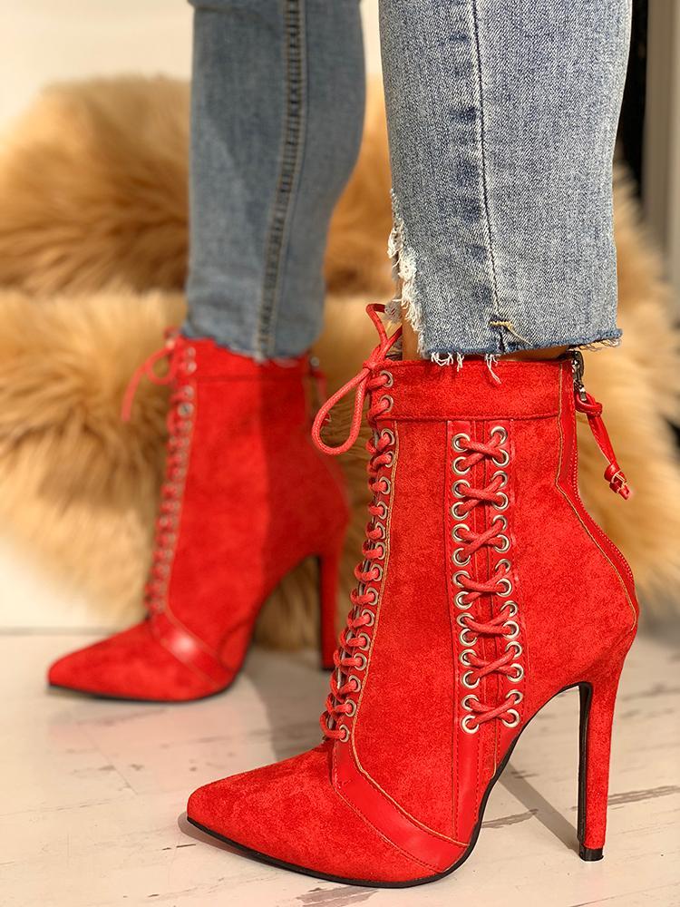 Lace-Up Eyelet Thin Heeled Boots