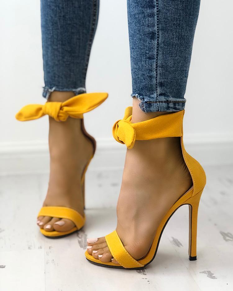 Peep Toe Thick Strap Ankle Tie Stiletto Sandals