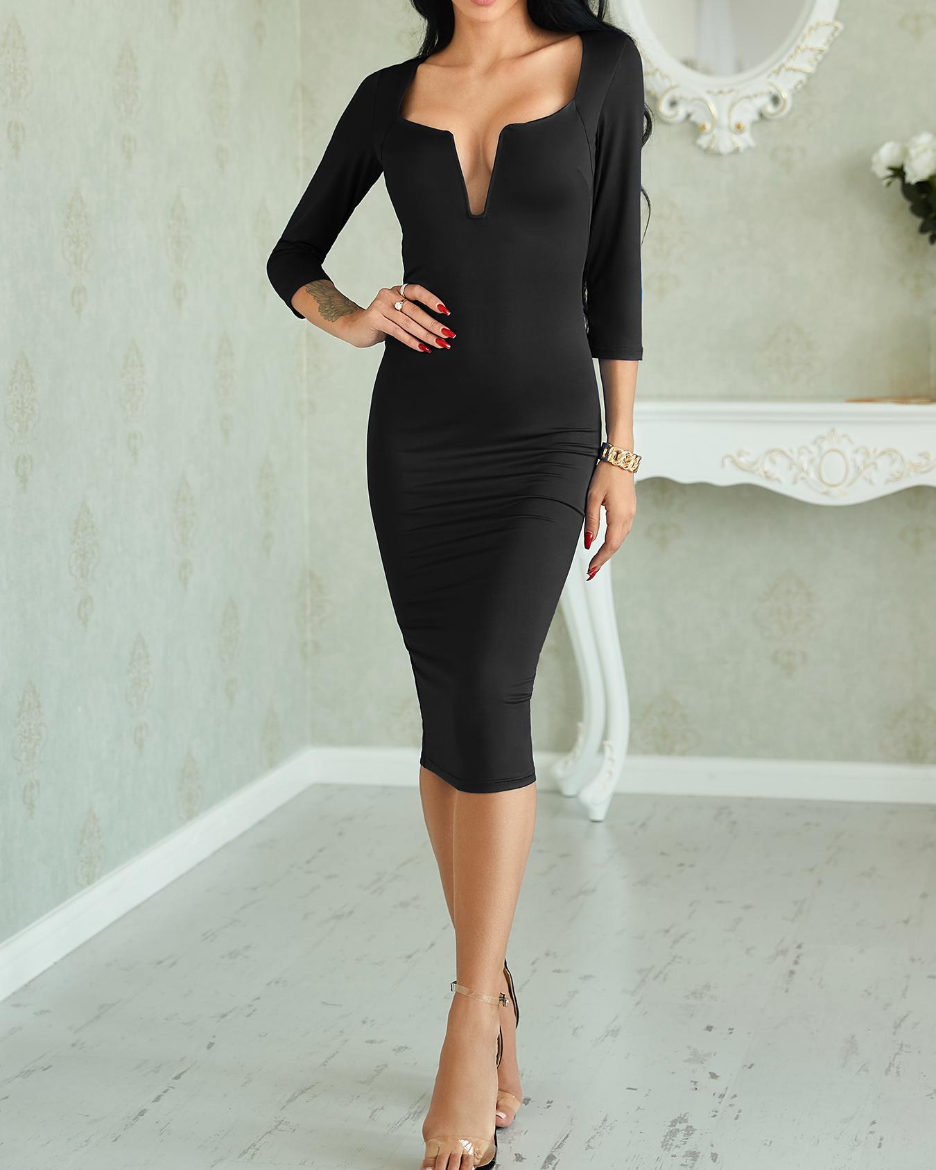 Sexy V Neck Solid Sheath Midi Dress