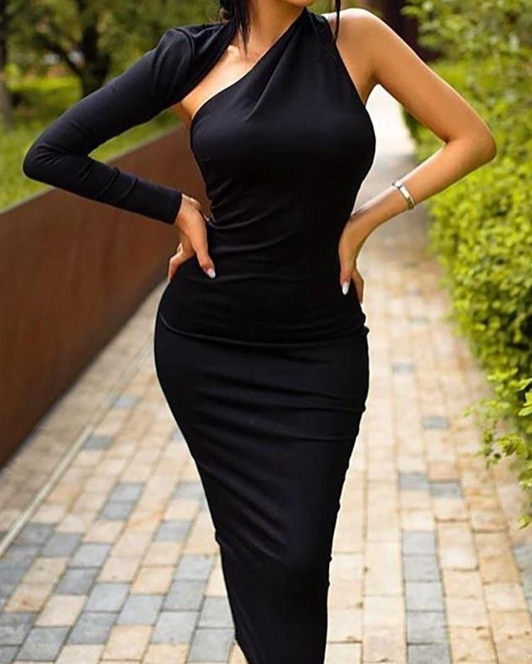 One Sleeve Cut Out Bodycon Dress фото