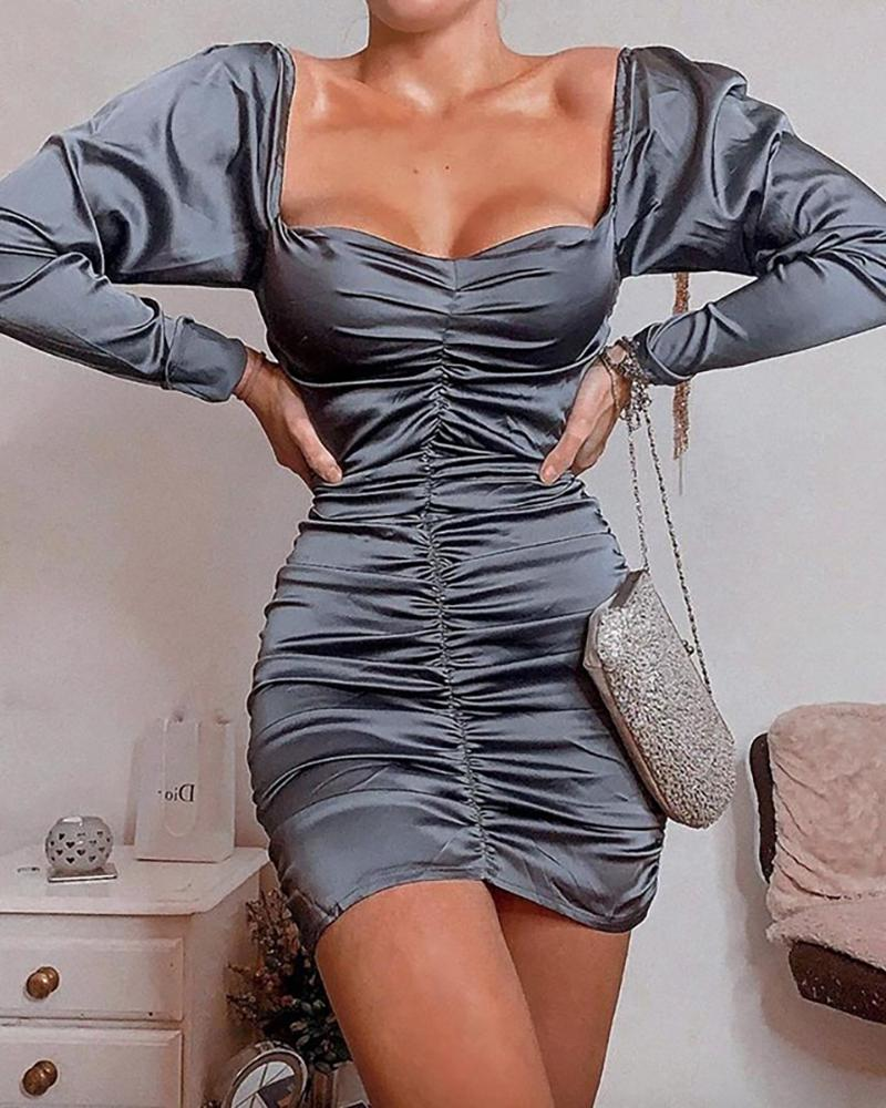 Solid Off Shoulder Ruched Long Sleeve Bodycon Dress фото
