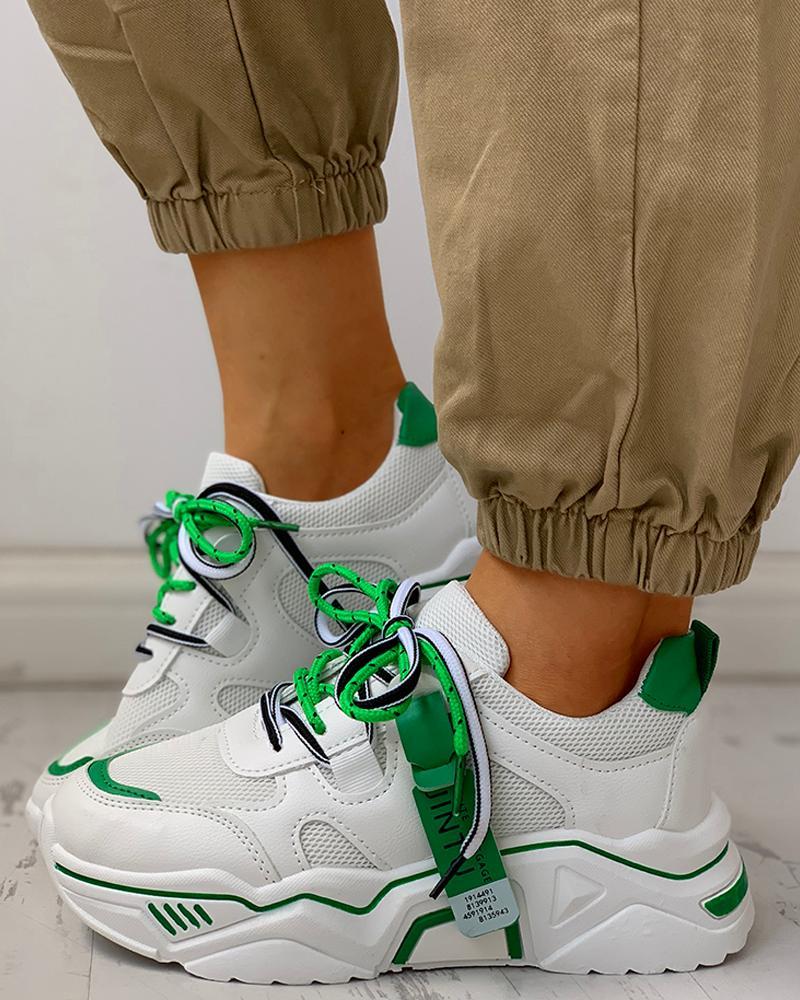 ivrose / Zapatos deportivos ocasionales transpirables con cordones de plataforma