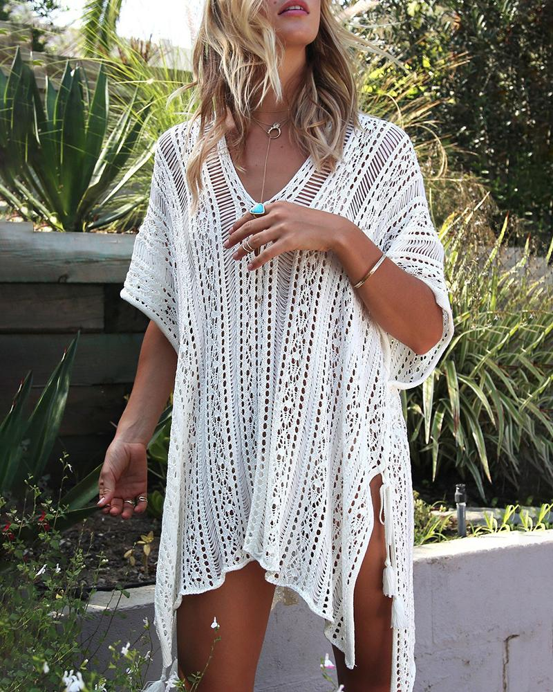 Hollow Out Knitted Tassel Cover Up фото