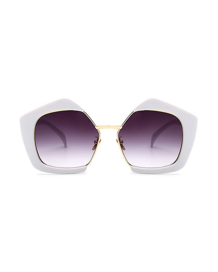 Oversized Frame Lens Sunglasses - White