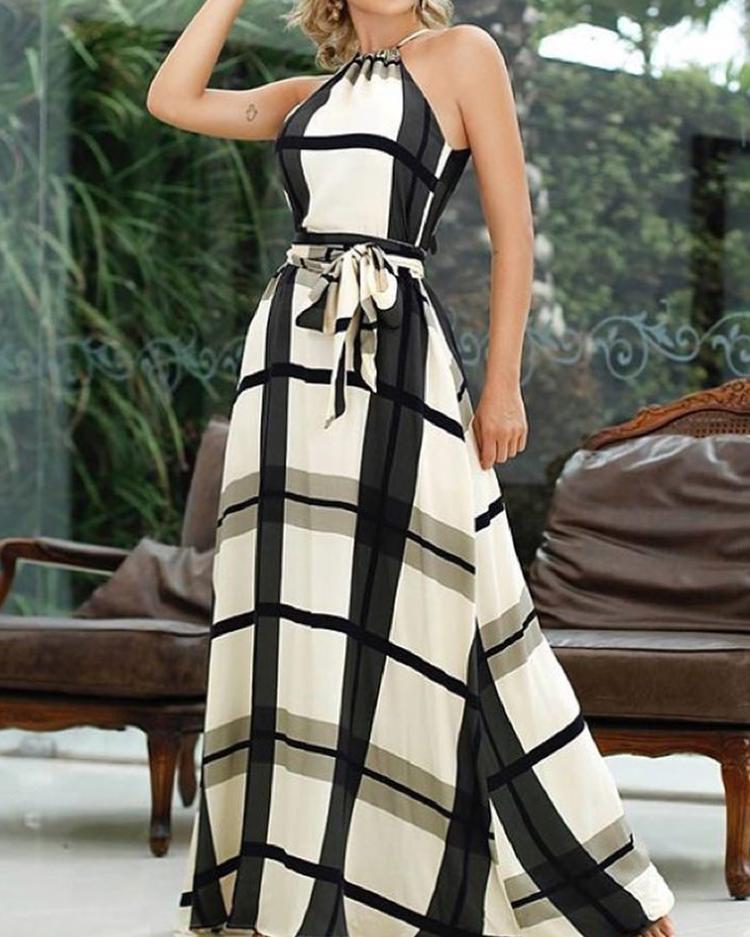 Купить со скидкой Plaid Print Halter Self Belted Maxi Dress