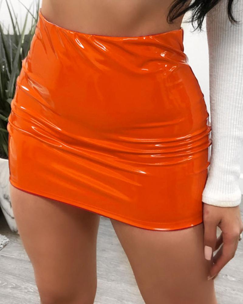 Faux Leather Mini Skirt фото