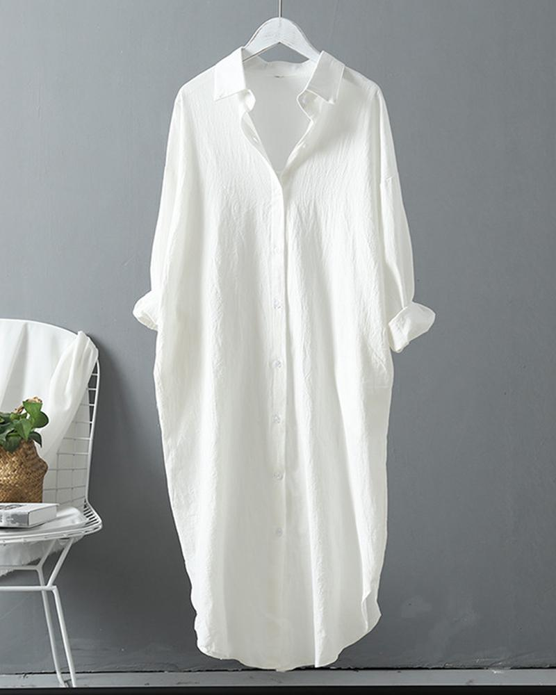 chicme / Button Design Long Sleeve Casual Shirt