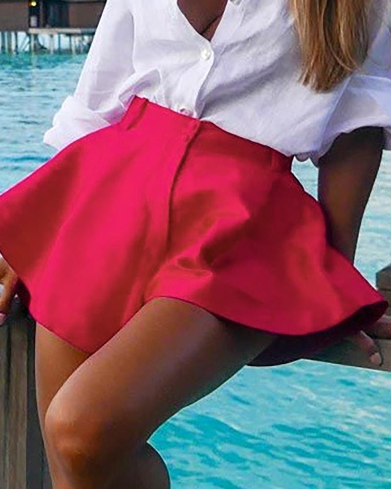 ivrose / Pantalones cortos casuales con botones anchos y botones anchos